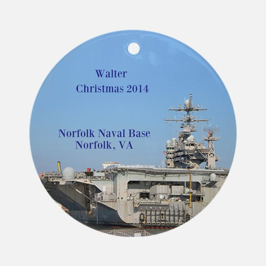Norfolk Naval Base Personalized Ornament (round)