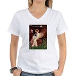 Angel (1) & Tri Cavalier Women's V-Neck T-Shirt