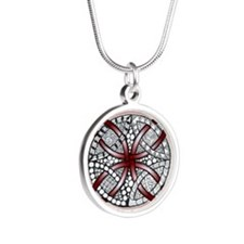 Red Celtic Knot Doodle Silver Round Necklace