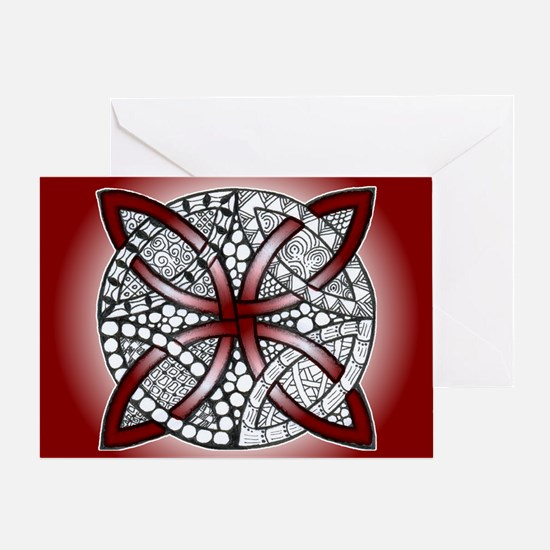 Red Celtic Knot Doodle Greeting Card