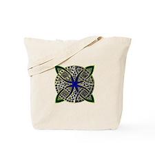 Green Gold Blue Celtic Knot Doodle Tote Bag