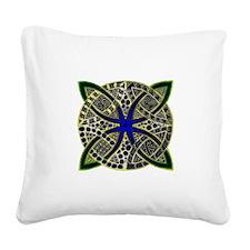 Green Gold Blue Celtic Knot D Square Canvas Pillow