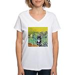 Irises & Cat Women's V-Neck T-Shirt