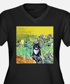 Irises & Cat Women's Plus Size V-Neck Dark T-Shirt