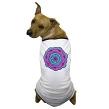 Bright Purple and Blue Lacy Flower Dog T-Shirt