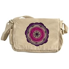 Purple and Pink Hand Drawn Flower Messenger Bag