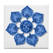 Bright Blue Flower Cut-Out Collage Tile Coaster