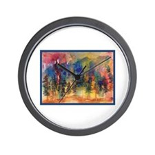 Watercolor Abstract Forest Wall Clock