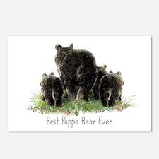 Best Poppa Bear Fun Dad Quote Black Bear Art Postc