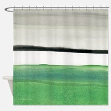 Green & Black Abstract Shower Curtain