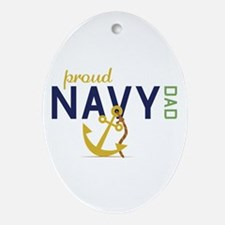 Proud Navy Dad Ornament (Oval)