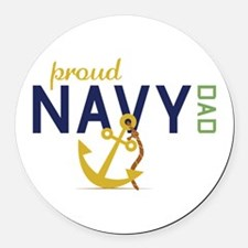 Proud Navy Dad Round Car Magnet