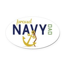 Proud Navy Dad Oval Car Magnet