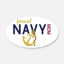 Proud navy MOM Oval Car Magnet