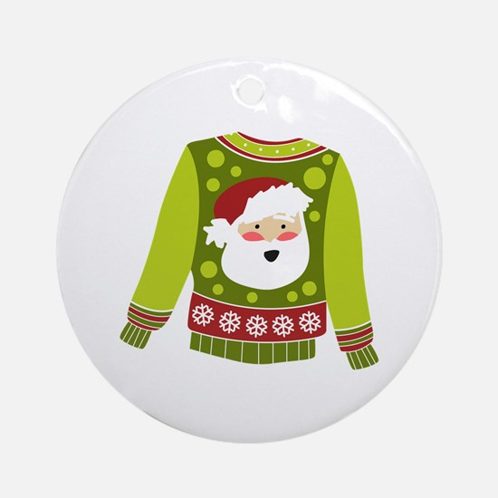 Santa Sweater Ornament (Round)