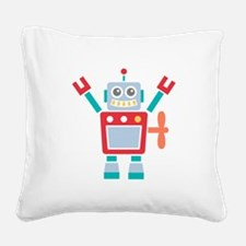 Vintage Cute Red Robot Toy Square Canvas Pillow