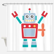 Vintage Cute Red Robot Toy Shower Curtain