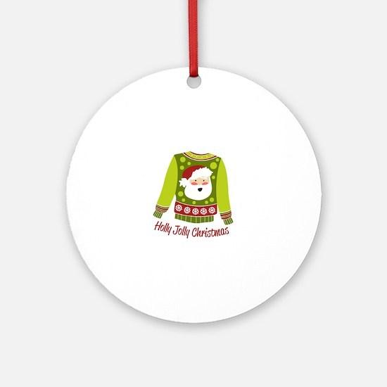 Holly Jolly Christmas Ornament (Round)
