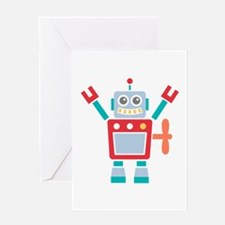Vintage Cute Red Robot Toy Greeting Cards