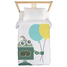 Cute Green Robot with Balloons Twin Duvet