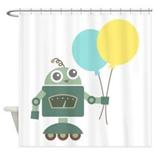 Cute Green Robot with Balloons Shower Curtain