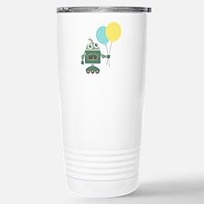 Cute Green Robot with Balloons Travel Mug