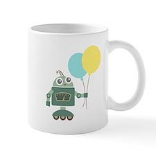Cute Green Robot with Balloons Mugs