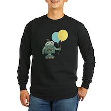 Cute Green Robot with Balloons Long Sleeve T-Shirt