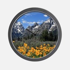 Majestic Grand Tetons with Yellow Flowe Wall Clock