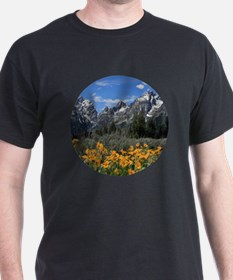 Majestic Grand Tetons with Yellow Flo T-Shirt