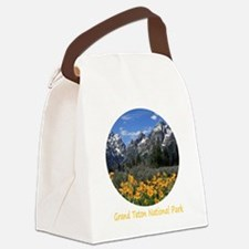 Grand Teton Mountains with Yellow Canvas Lunch Bag