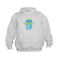 Cute and Happy Blue Robot Hoodie