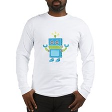 Cute and Happy Blue Robot Long Sleeve T-Shirt