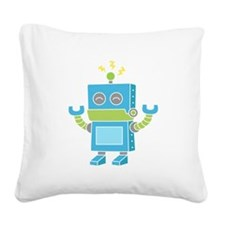 Cute and Happy Blue Robot Square Canvas Pillow