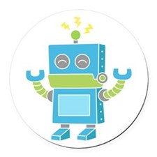 Cute and Happy Blue Robot Round Car Magnet