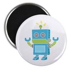 Cute and Happy Blue Robot Magnets