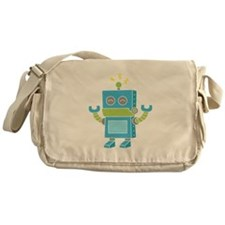 Cute and Happy Blue Robot Messenger Bag