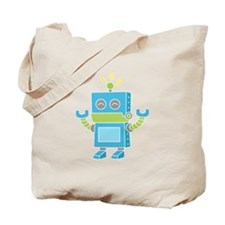 Cute and Happy Blue Robot Tote Bag