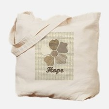Hope Fabric Flower Collage with Textured Tote Bag