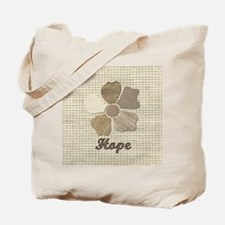 Hope Fabric Collage Flower Inspirational Tote Bag