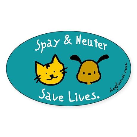 Save Lives Spay & Neuter Oval Sticker