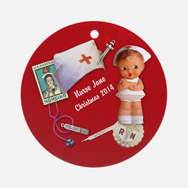 Personalized Nurse Christmas Ornament (round)