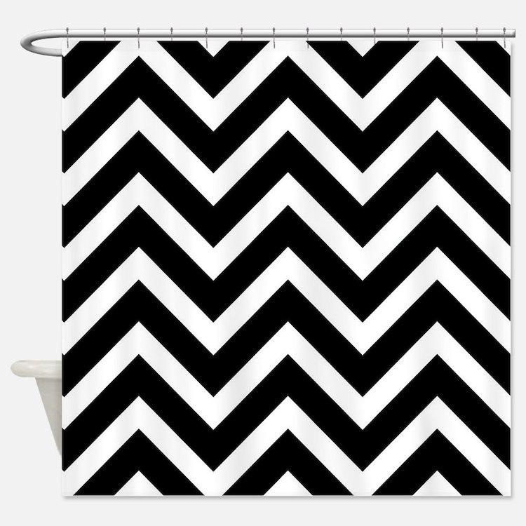 Black And White Chevron Shower Curtains Black And White Chevron - Black and white chevron shower curtain