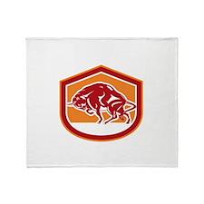 European Bison Charging Shield Retro Throw Blanket