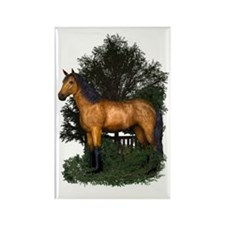 Buckskin Horse in Woodland Rectangle Magnet