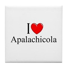 """I Love Apalachicola"" Tile Coaster"