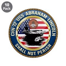 "CVN-72 USS Abraham Lincoln 3.5"" Button (10 pack)"