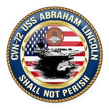 CVN-72 USS Abraham Lincoln Round Car Magnet