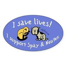 I Save Lives! Spay & Neuter Oval Decal