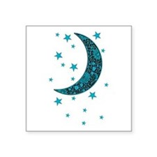Cyan Blue Moon Stars Flower Sticker